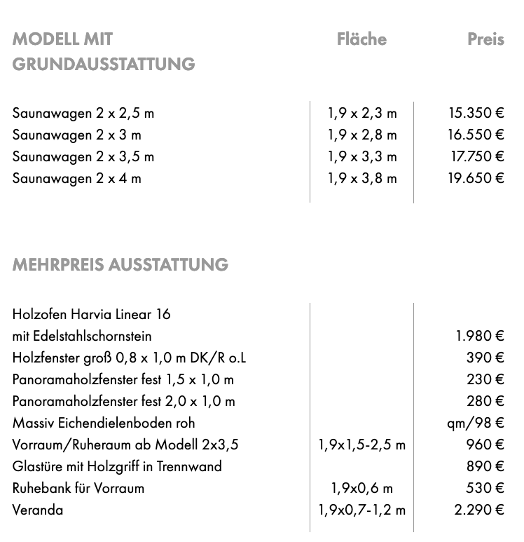 Saunawagen Preisliste